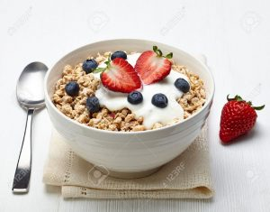 18867358-Bowl-of-healthy-muesli-with-yogurt-and-fresh-berries-Stock-Photo
