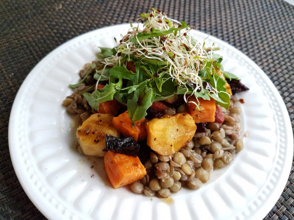 Roasted Vegetable Lentil Salad